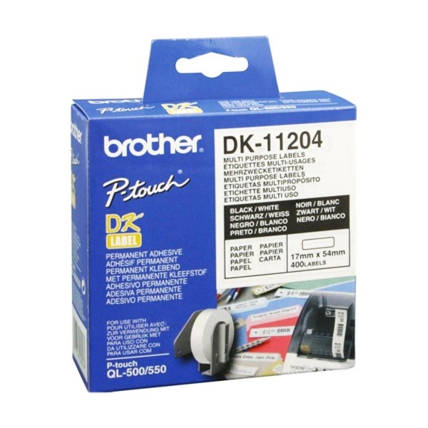 Multifunktionale Drucker-Etiketten Brother DK11204 17 x 54 mm Weiß