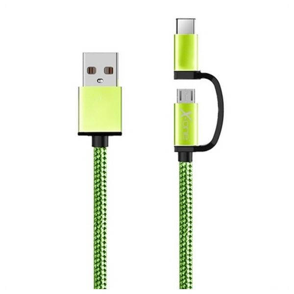 USB-Kabel auf Micro-USB und USB C Ref. 101134 grün
