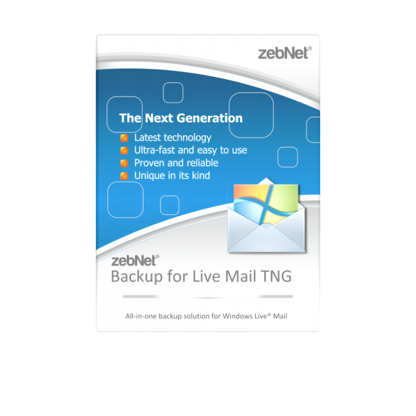 zebNet® Backup for Live Mail TNG - Single User License for 1 Computer