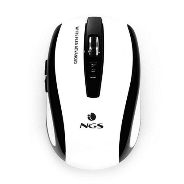 Drahtlose optische Maus NGS White Flea Advanced 800/1600 dpi Weiß Schwarz