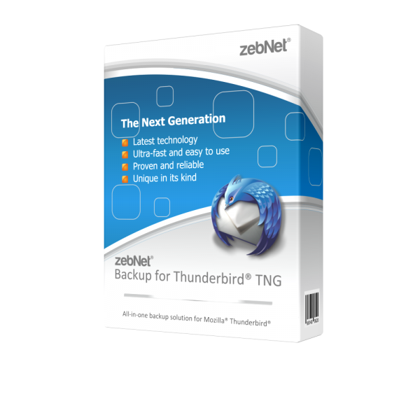 zebNet® Backup for Thunderbird® TNG - Single User License for 1 Computer