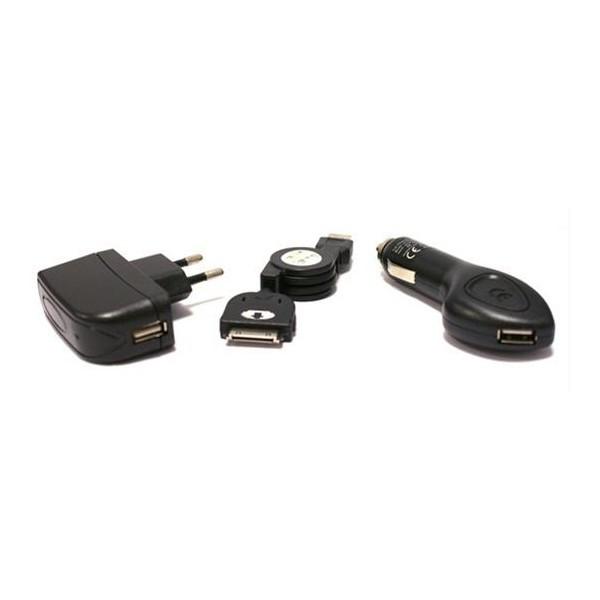 3-in-1-Universalladegerät Iphone 3, 3gs, 4, 4s KSIX Micro USB USB Schwarz