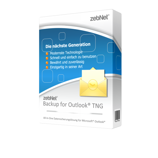 zebNet® Backup for Outlook® TNG - Single User License for 1 Computer