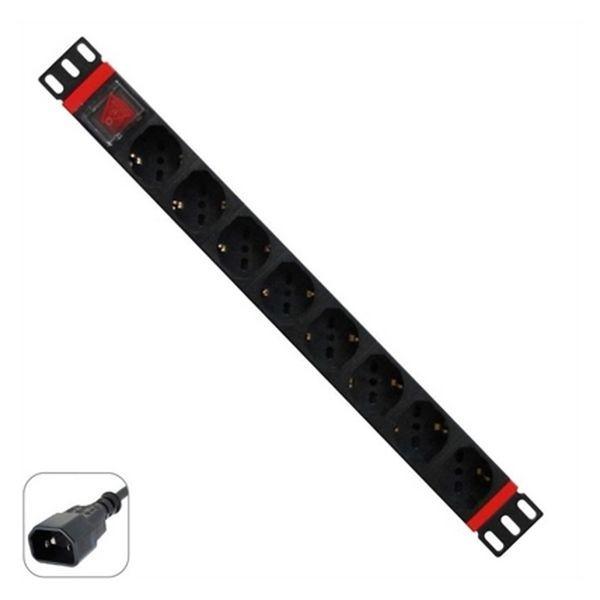 """Schuko 19"""" 8 Steckerleiste mit An/Aus Schalter WP WPN-PDU-C01-08"""