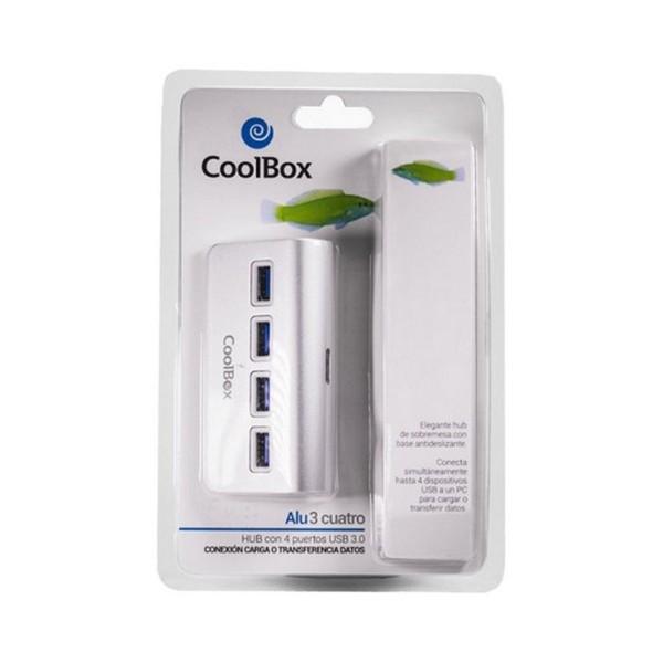 Hub USB CoolBox COO-HU4ALU3 Aluminium (4 anschlüsse)
