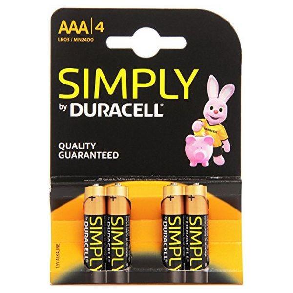 Alkali-Mangan-Batterie DURACELL Simply DURSIMLR3P4B LR03 AAA 1.5V (4 pcs)