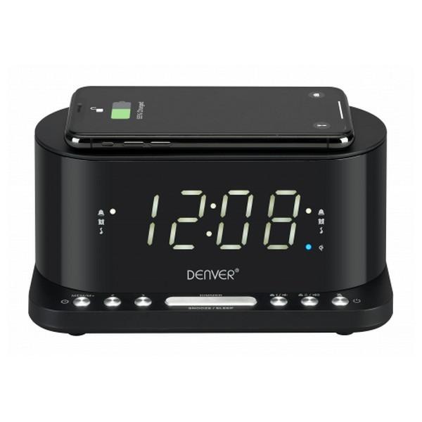 "Radiowecker mit kabellosem Ladegerät Denver Electronics CRQ-110 12"" LED USB Schwarz"