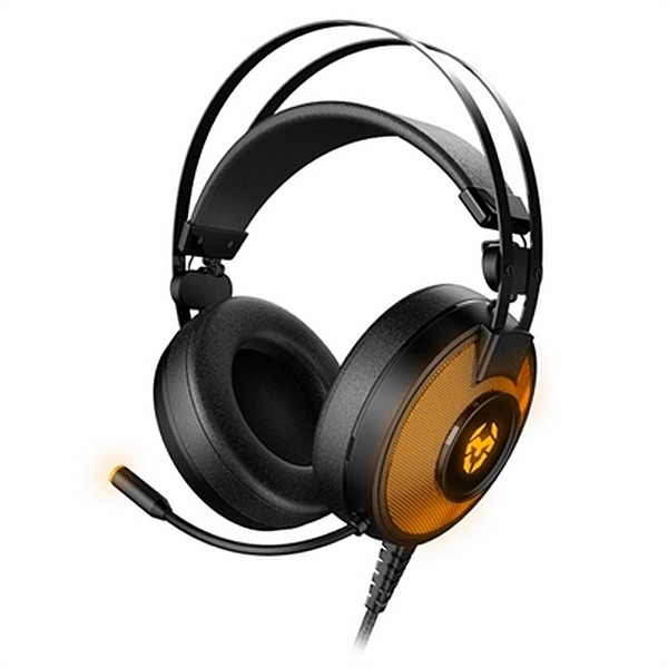 Gaming-Kopfhörer mit Mikrofon Krom Kayle USB Schwarz Orange