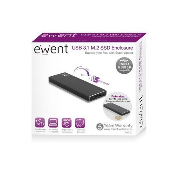 Externe Box Ewent EW7023 SSD M2 USB 3.1 Aluminium